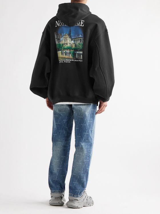 BALENCIAGA Distressed Printed Fleece-Back Cotton-Jersey Hoodie