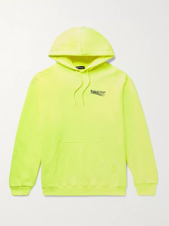 BALENCIAGA Logo-Print Fleece-Back Cotton-Jersey Hoodie