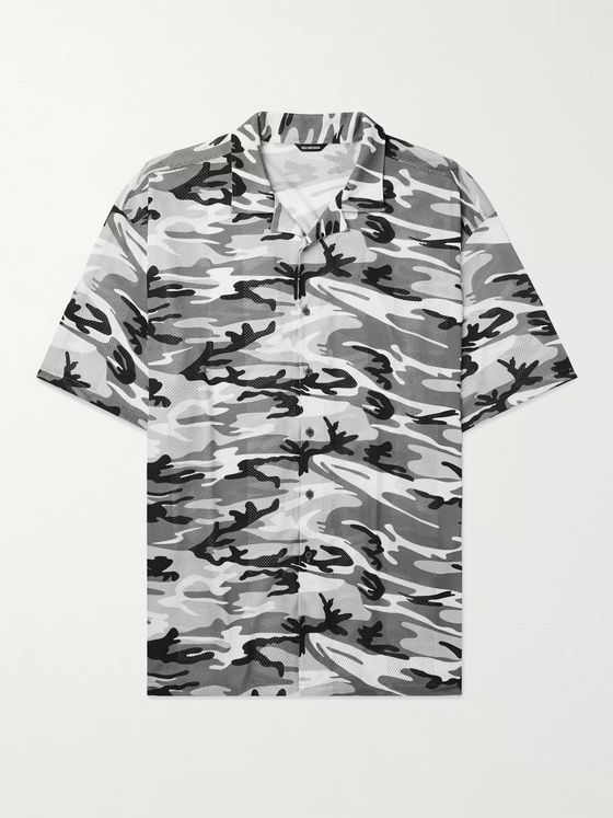 BALENCIAGA Oversized Camp-Collar Camouflage-Print Perforated Stretch-Jersey Shirt