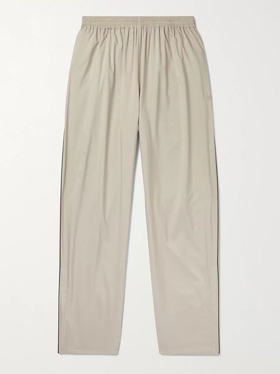 BALENCIAGA Wide-Leg Piped Shell Track Pants