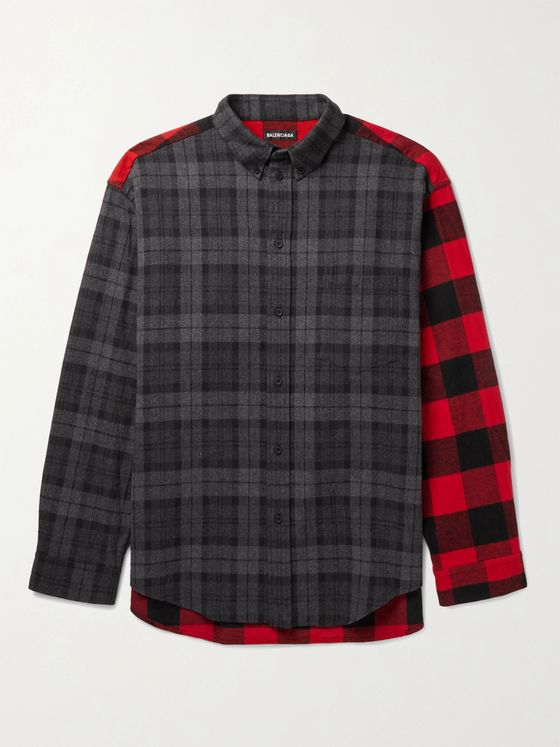 BALENCIAGA Button-Down Collar Panelled Checked Cotton-Flannel Shirt