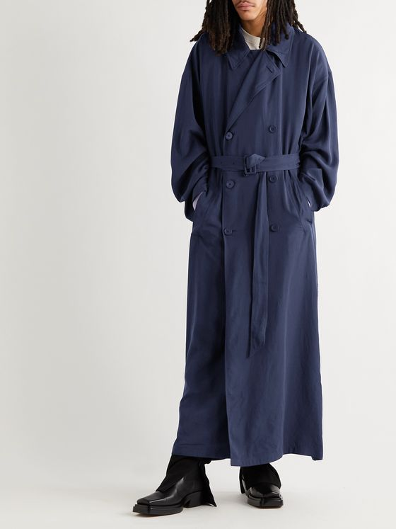 BALENCIAGA Oversized Belted Double-Breasted Lyocell Trench Coat