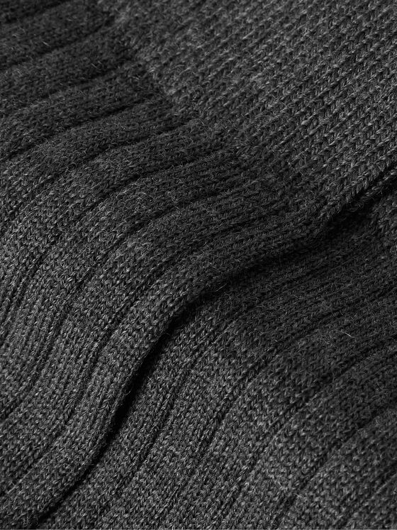 SUNSPEL Ribbed Mélange Merino Wool Socks