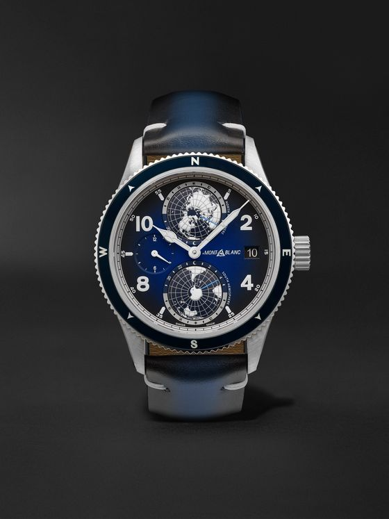 MONTBLANC 1858 Geosphere Automatic GMT 42mm Titanium, Ceramic and Leather Watch, Ref. No. 125565