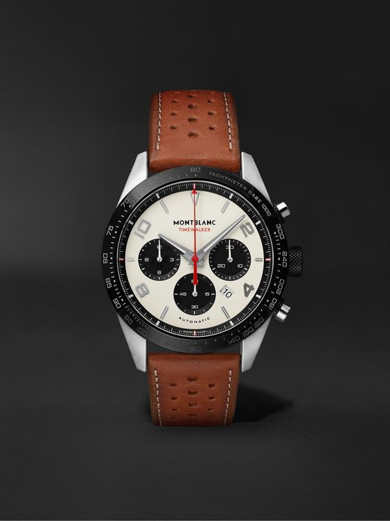 MONTBLANC TimeWalker Automatic Chronograph 43mm Stainless Steel and Leather Watch, Ref. No. 118488