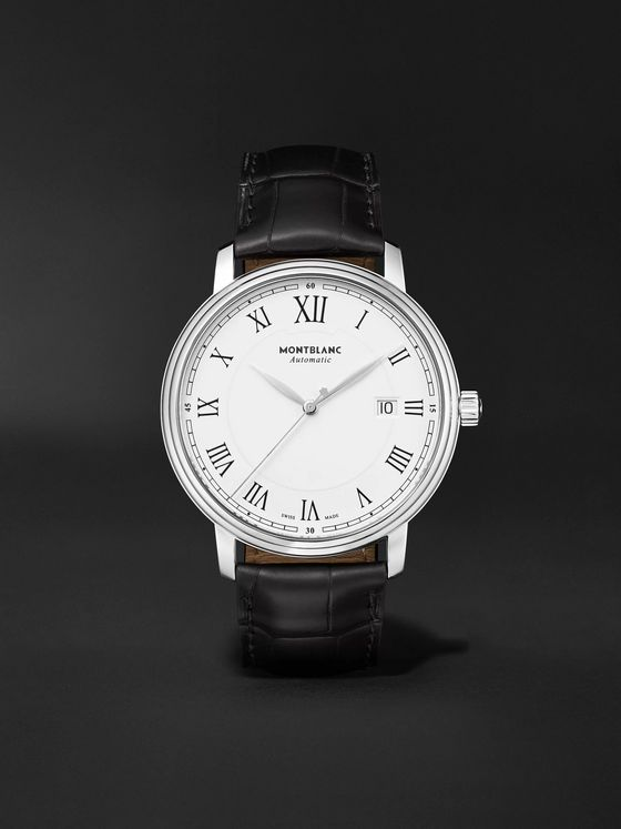MONTBLANC Tradition Automatic 40mm Stainless Steel and Alligator Watch, Ref. No. 112609