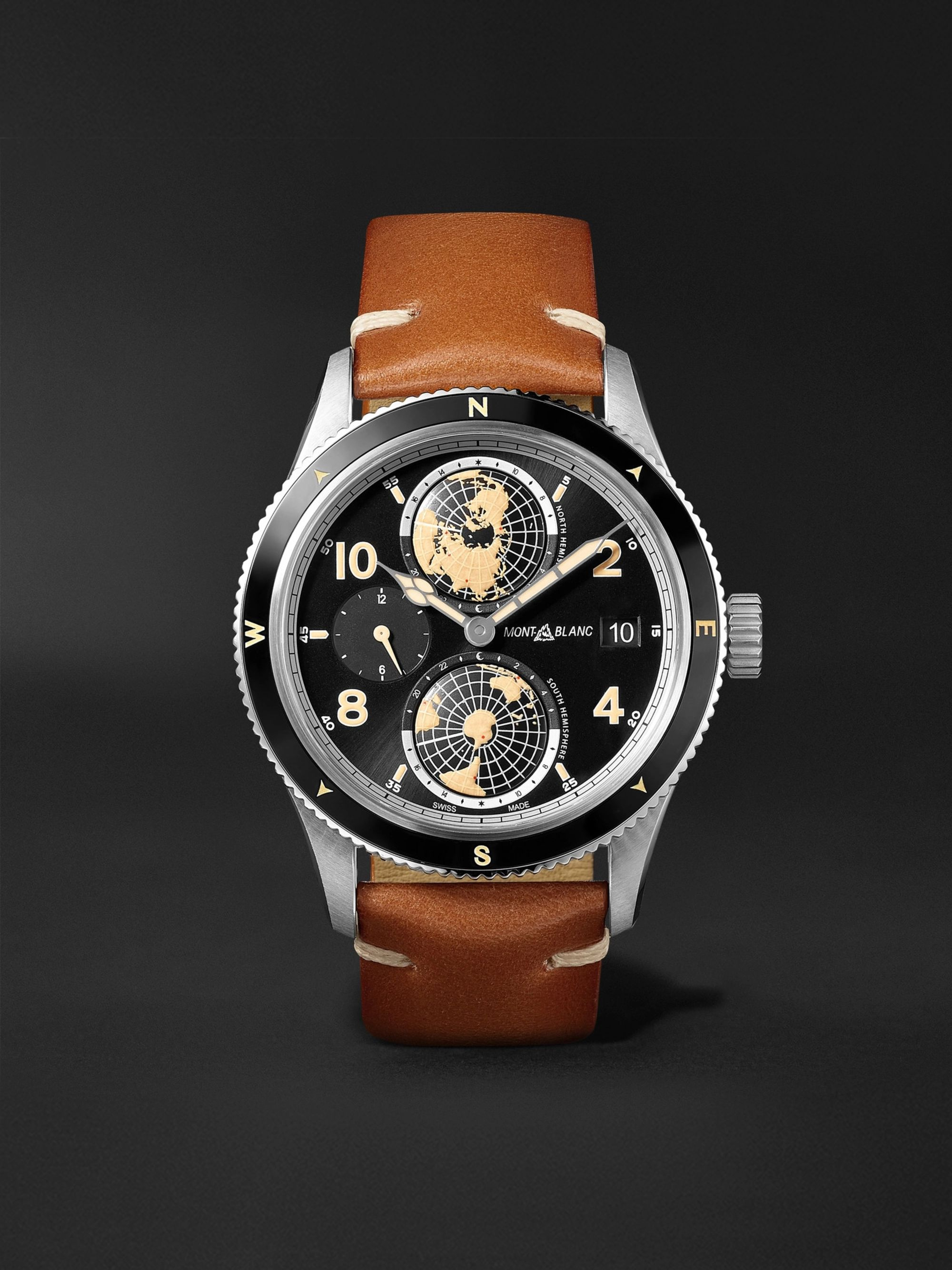 MONTBLANC 1858 Geosphere Automatic GMT 42mm Stainless Steel, Ceramic and Leather Watch, Ref. No. 119286