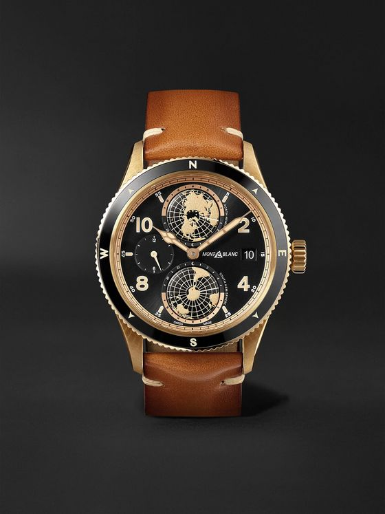 MONTBLANC 1858 Geosphere Limited Edition Automatic GMT 42mm Bronze, Ceramic and Leather Watch, Ref. No. 119347
