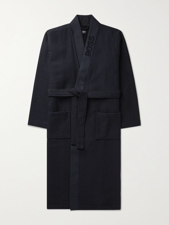 HUGO BOSS Logo-Jacquard Waffle-Knit Loopback Cotton-Blend Robe