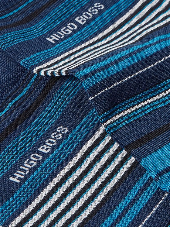 HUGO BOSS Striped Mercerised Cotton-Blend Socks