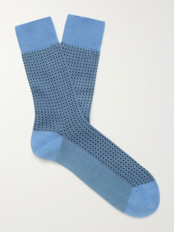 FALKE Uptown Tie Cotton-Blend Jacquard Socks