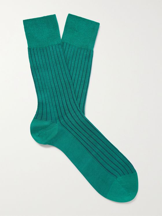FALKE Shadow Ribbed Striped Cotton-Blend Socks