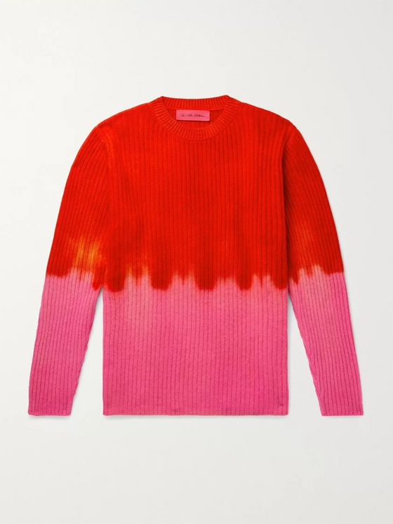 THE ELDER STATESMAN Ribbed Tie-Dyed Cashmere Sweater
