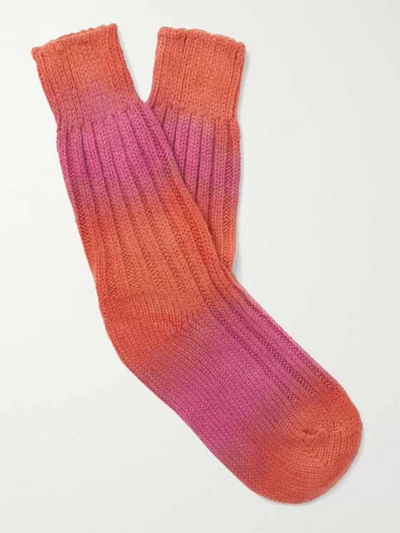 THE ELDER STATESMAN Hot Yosemite Tie-Dyed Cashmere Socks