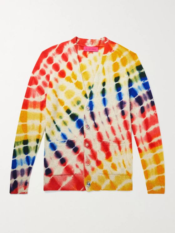 THE ELDER STATESMAN Tie-Dyed Cashmere Cardigan