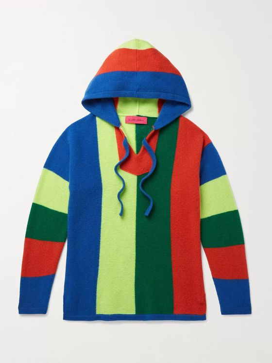 THE ELDER STATESMAN Slim-Fit Striped Cashmere Hoodie