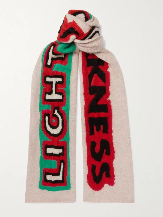 THE ELDER STATESMAN Light and Darkness Intarsia Cashmere Scarf
