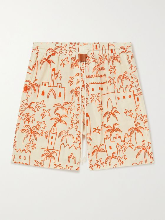 NANUSHKA Doxxi Printed Cotton-Voile Drawstring Shorts