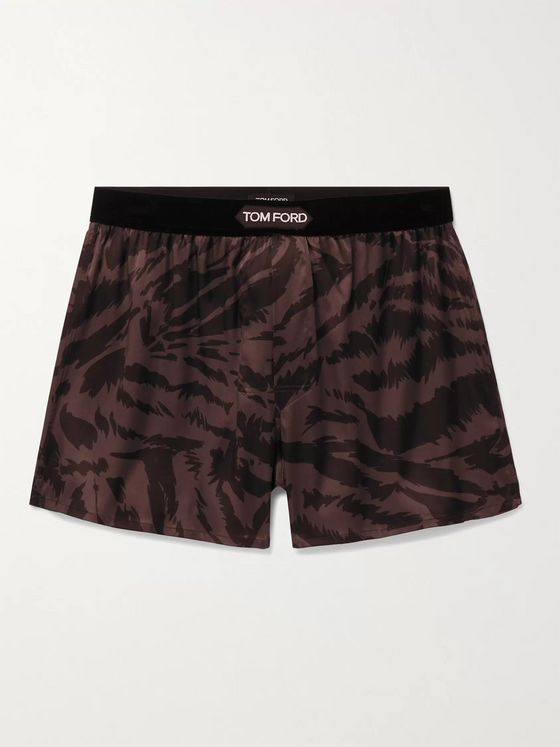 TOM FORD Velvet-Trimmed Zebra-Print Stretch-Silk Satin Boxer Shorts