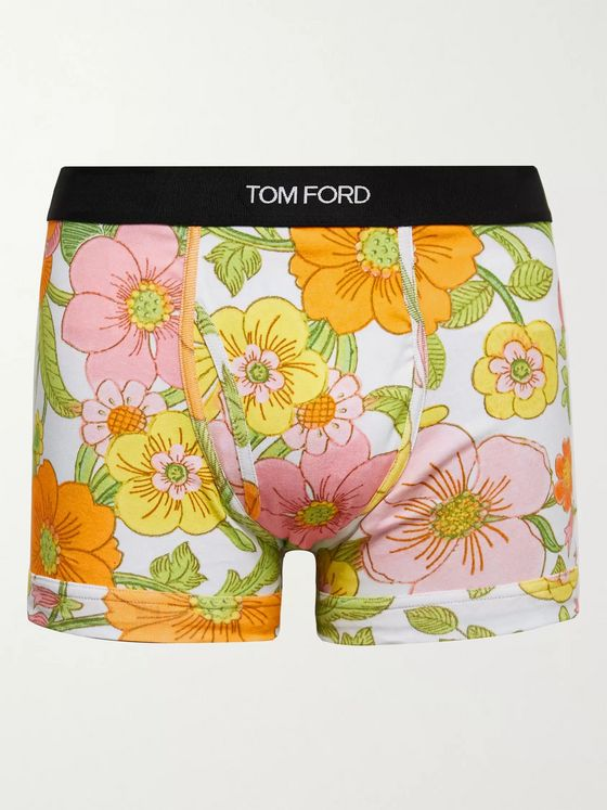 TOM FORD Floral-Print Stretch-Cotton Jersey Boxer Briefs