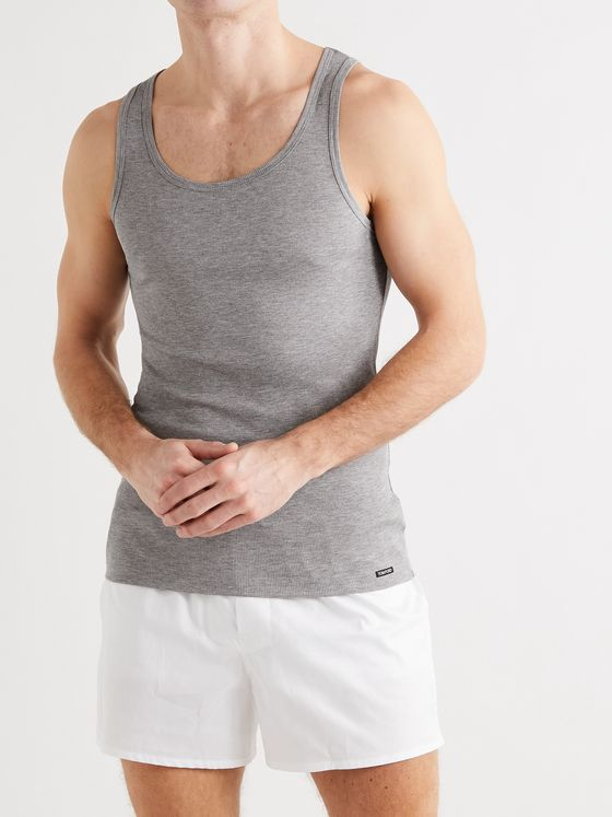 TOM FORD Ribbed Mélange Cotton and Modal-Blend Jersey Tank Top