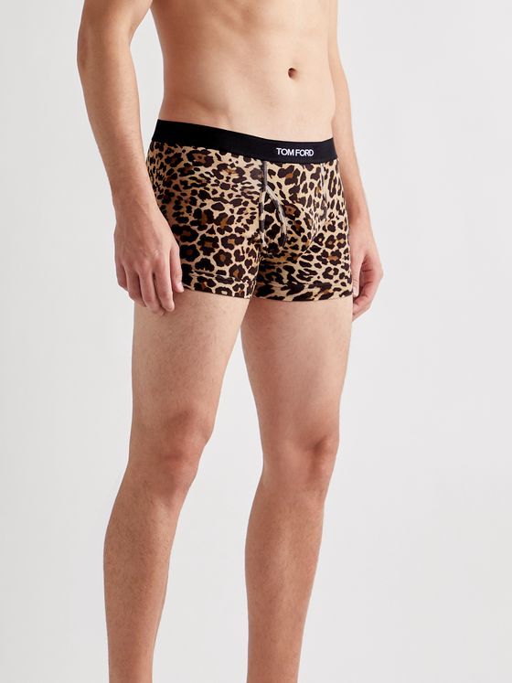 TOM FORD Leopard-Print Stretch-Cotton Boxer Briefs