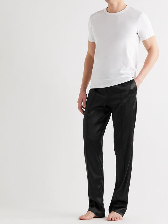 TOM FORD Velvet-Trimmed Stretch-Silk Pyjama Trousers