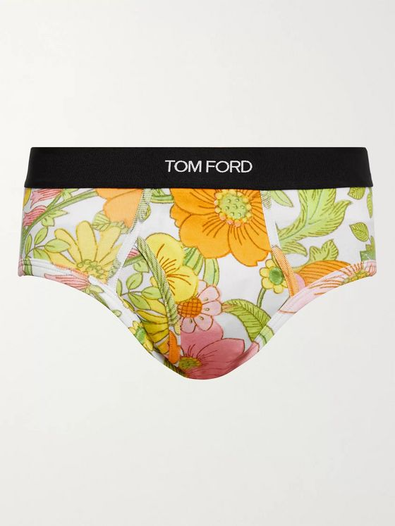 TOM FORD Floral-Print Stretch-Cotton Jersey Briefs
