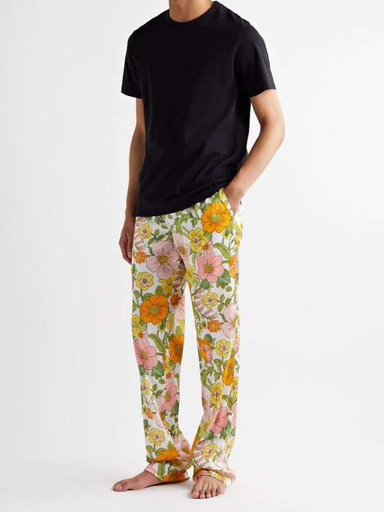 TOM FORD Velvet-Trimmed Printed Stretch-Silk Satin Pyjama Trousers
