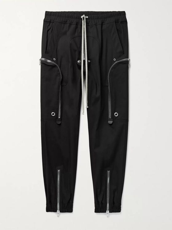RICK OWENS Bauhaus Slim-Fit Tapered Cotton-Blend Drawstring Cargo Trousers