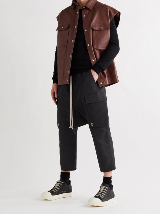 RICK OWENS Cropped Stretch-Cotton Drawstring Cargo Trousers