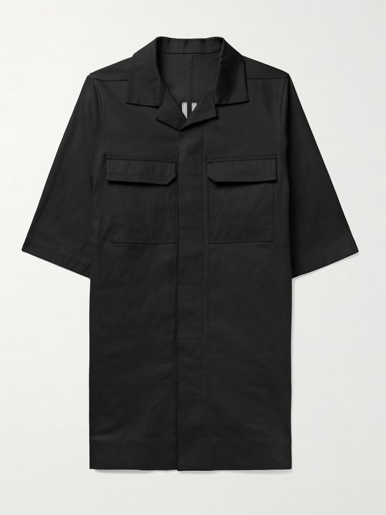 RICK OWENS Magnum Camp-Collar Cotton-Blend Shirt