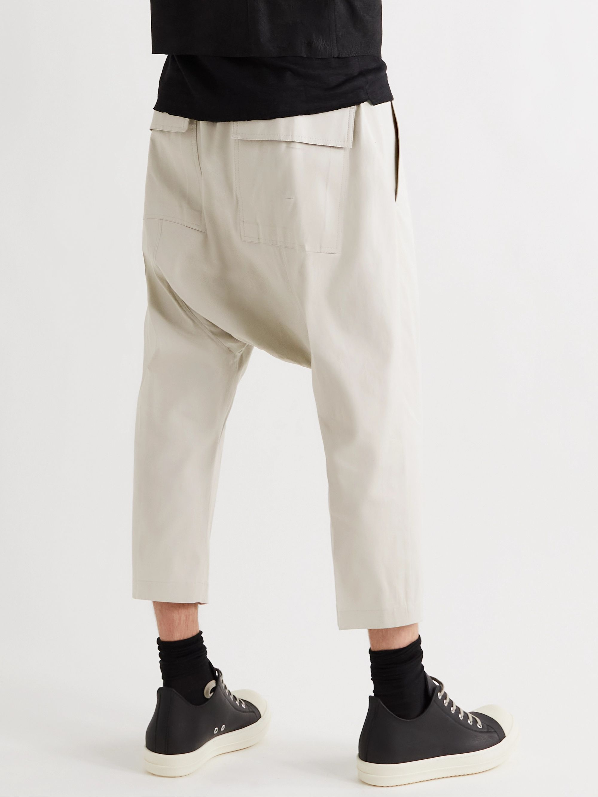 RICK OWENS Cropped Cotton-Blend Poplin Drawstring Trousers