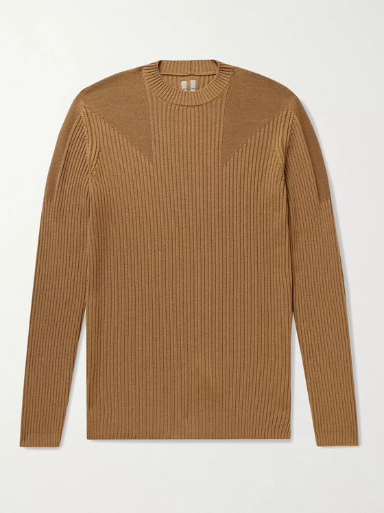 RICK OWENS Ribbed Virgin Wool Sweater