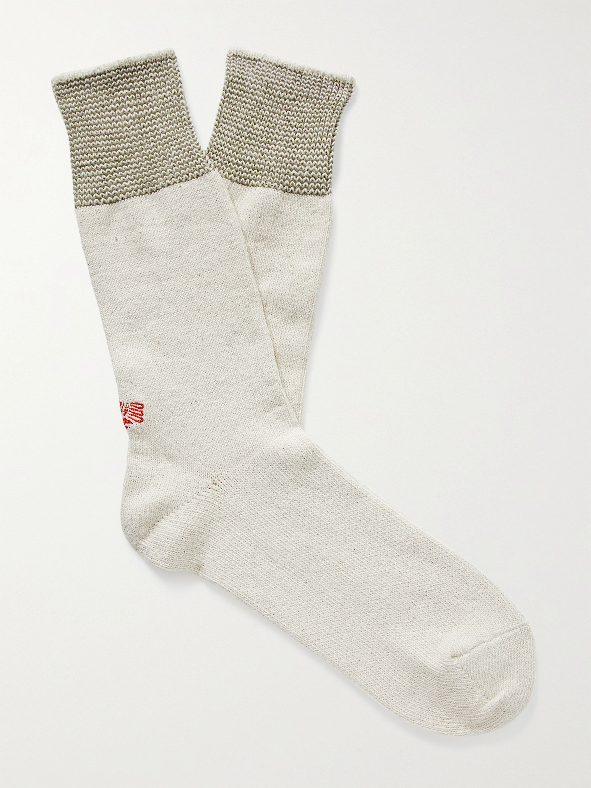 ANONYMOUS ISM Mayo Birdseye Mélange Recycled Cotton-Blend Socks