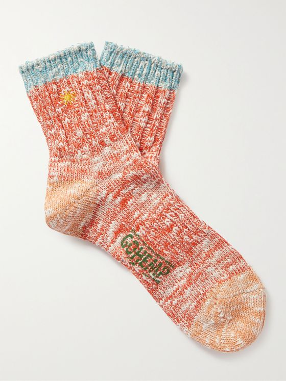 ANONYMOUS ISM Contrast-Tipped Mélange Cotton and Hemp-Blend Socks