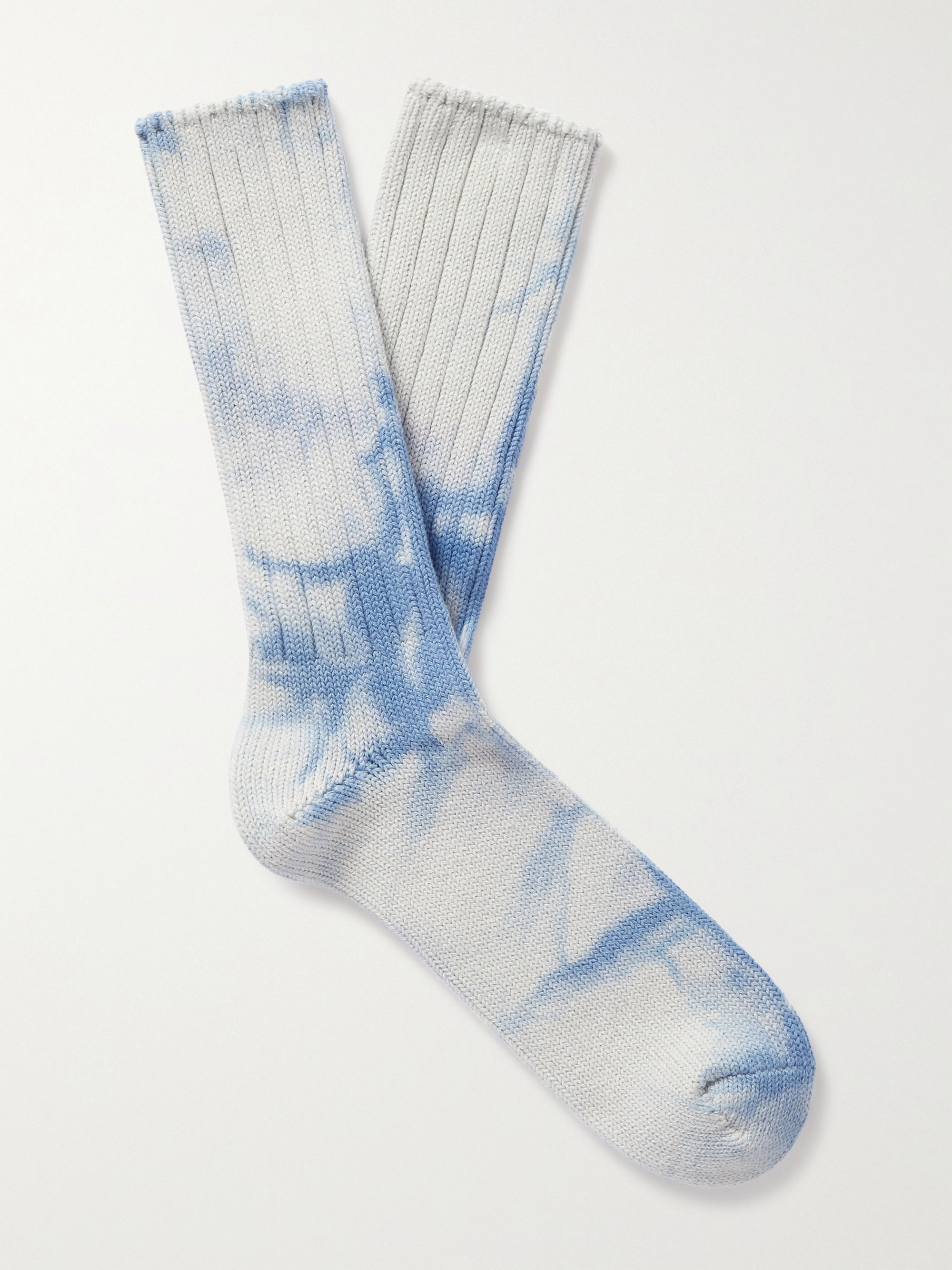 ANONYMOUS ISM Tie-Dyed Cotton-Blend Socks