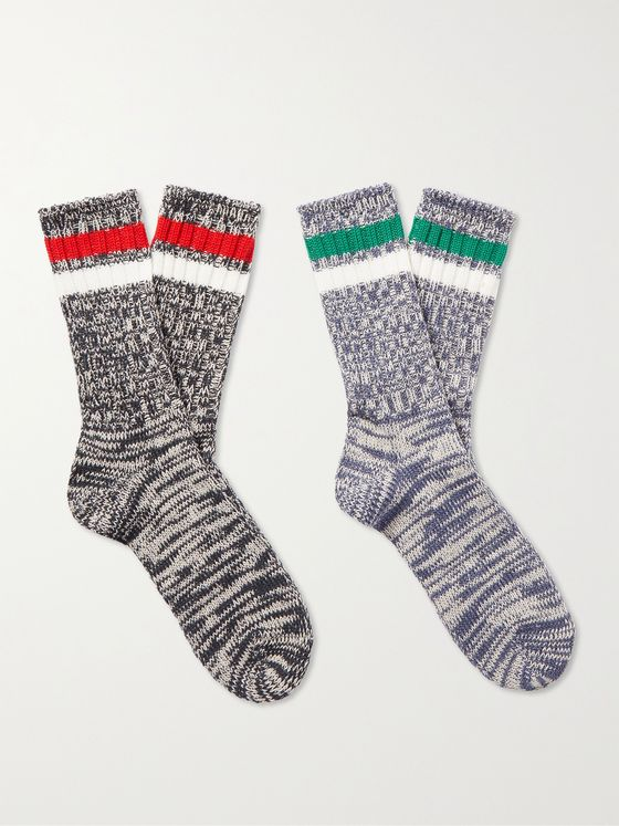 ANONYMOUS ISM Two-Pack Mélange Cotton-Blend Socks