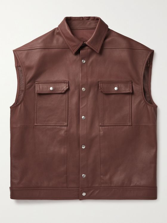 RICK OWENS Webbing-Trimmed Leather Vest