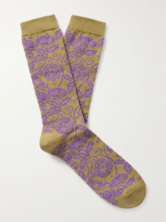 ANONYMOUS ISM Intarsia Cotton-Blend Socks