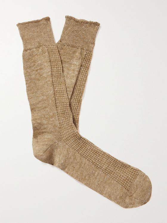 ANONYMOUS ISM Linen-Blend Socks
