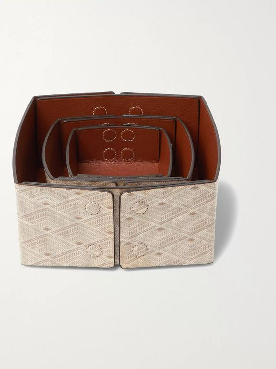 Métier Set of Three Reversible Collapsible Printed Canvas and Leather Boxes