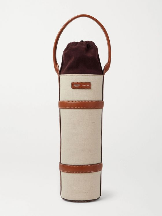Métier Leather-Trimmed Linen Wine Holder