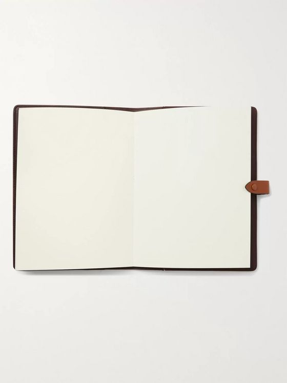 Métier Leather-Trimmed Printed Canvas Notebook