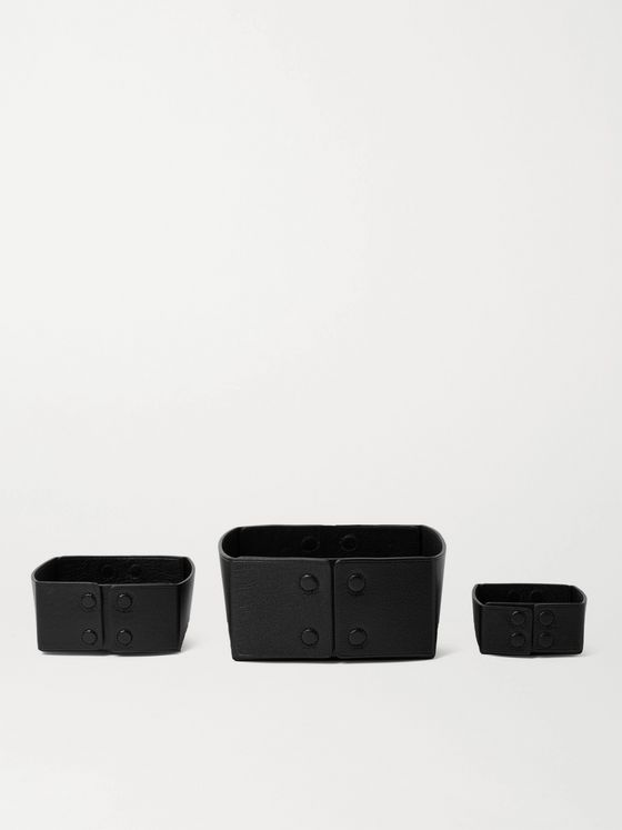 Métier Set of Three Reversible Collapsible Full-Grain Leather Boxes