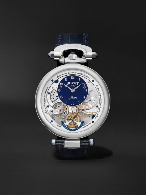BOVET Monsieur BOVET Hand-Wound 43mm 18-Karat White Gold and Leather Watch, Ref. No. AI43018