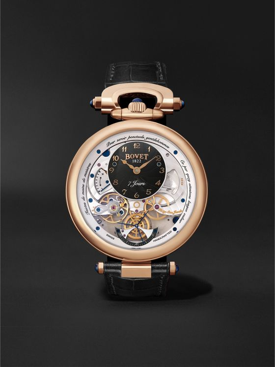 BOVET Monsieur BOVET Hand-Wound 43mm 18-Karat Red Gold and Leather Watch, Ref. No. AI43021