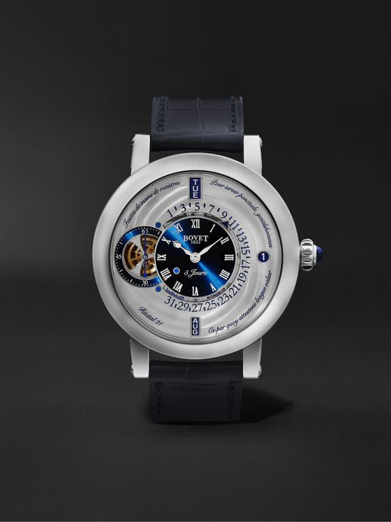 BOVET Récital 21 Limited Edition Hand-Wound Perpetual Calendar 44.4mm Titanium and Croc-Effect Leather Watch, Ref. No. R210002