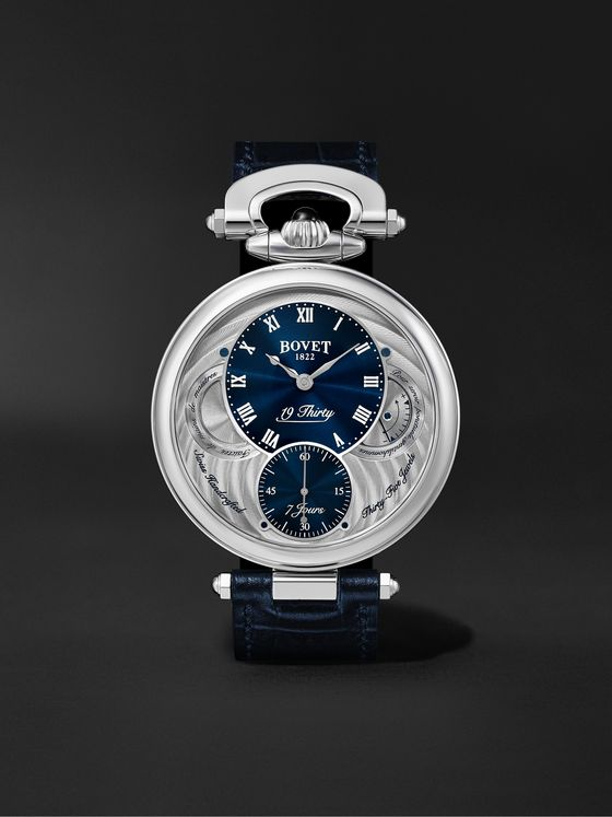 BOVET 19Thirty Fleurier Hand-Wound 42mm Stainless Steel and Leather Watch, Ref. No. NTS0004