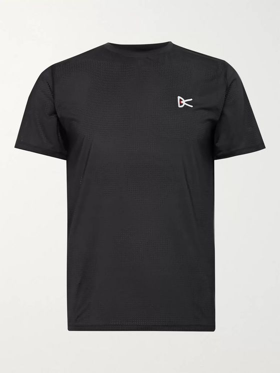 DISTRICT VISION Slim-Fit Logo-Print Stretch-Mesh Running T-Shirt